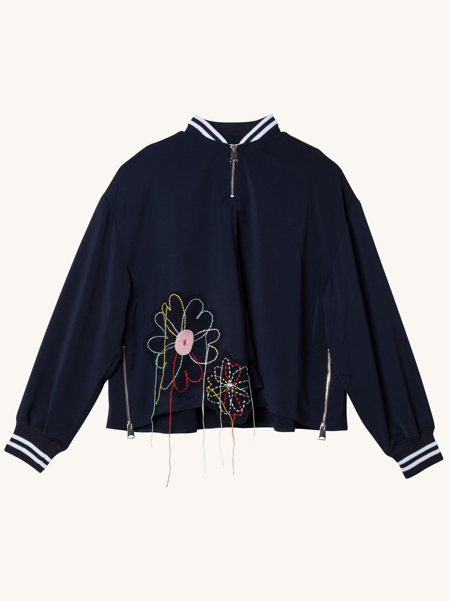 Navy Half Zip Bomber Top