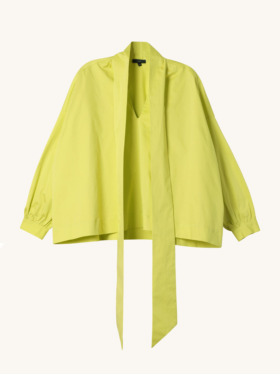Donna Tie Blouse in Lime
