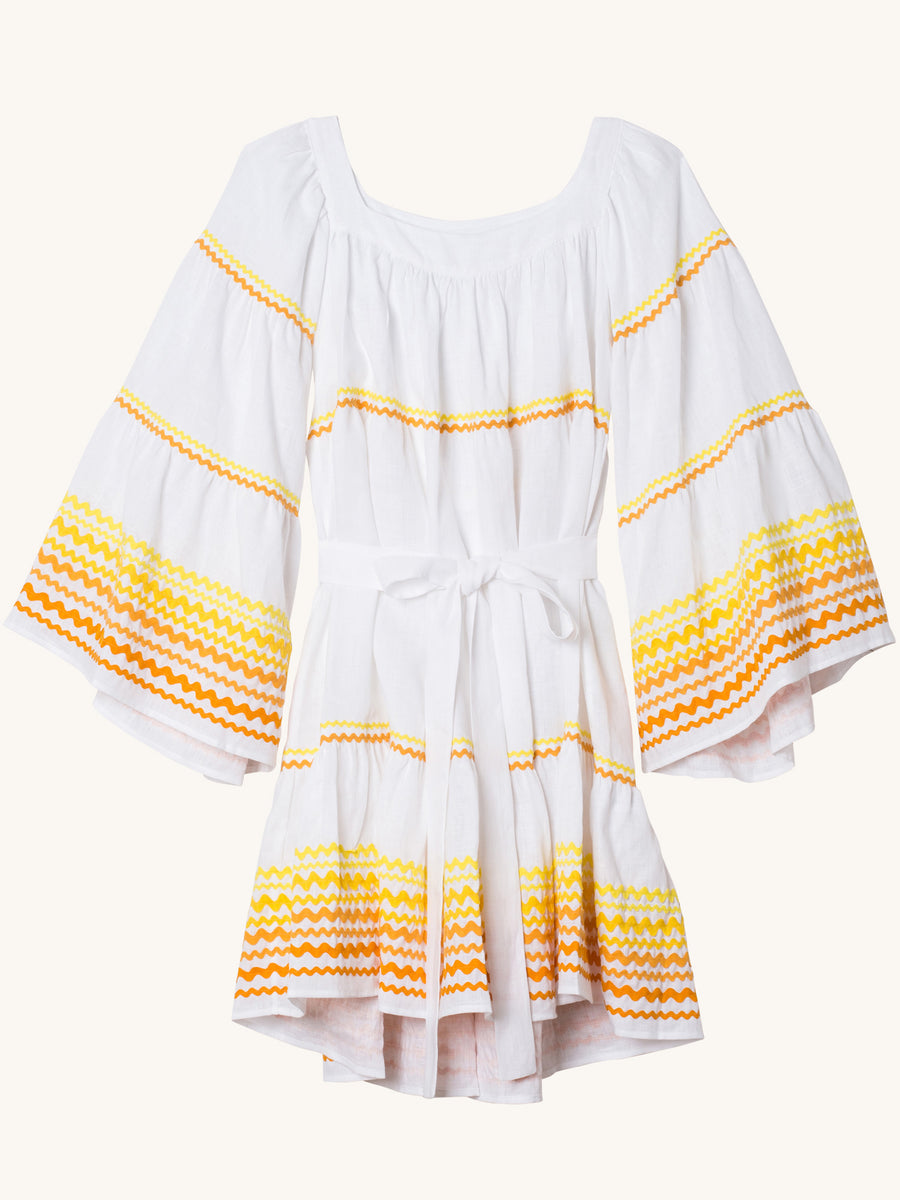 Ric Rac Yellow & Orange Linen Peasant Dress