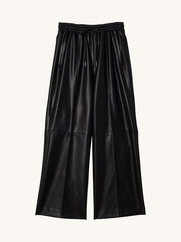 Faux Leather Paneled Track Pants
