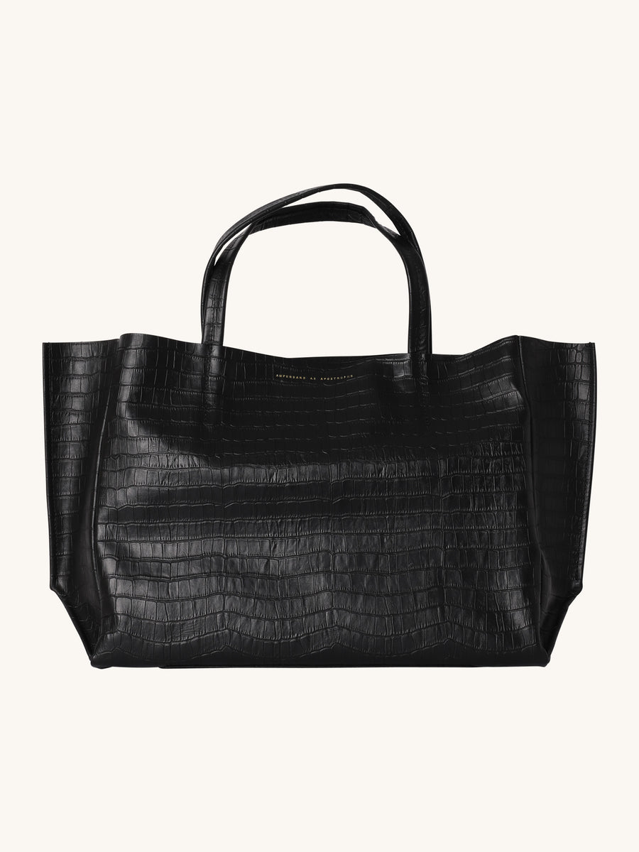Sideways Croc Tote in Noir