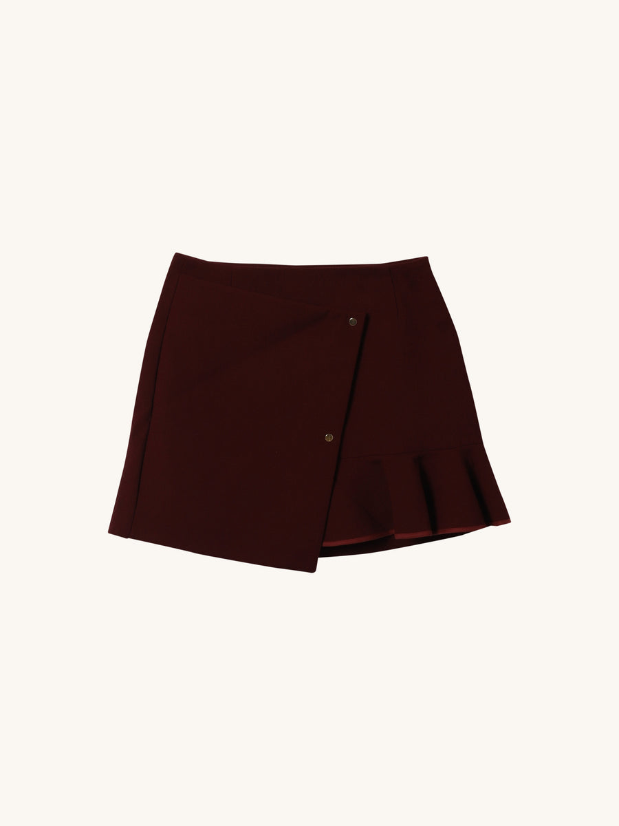 Stephanie Flounce Skirt in Burgundy