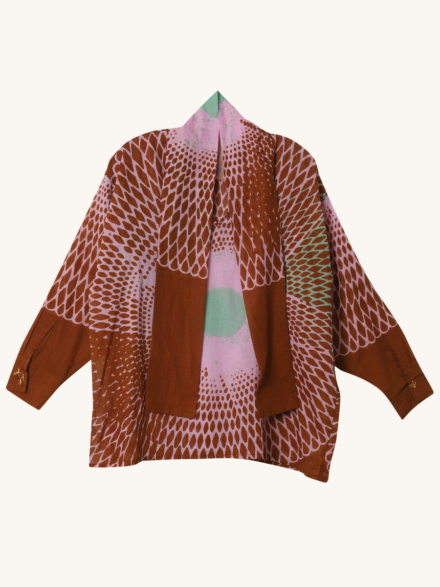 Bow Blouse in Toffee Abstract Print