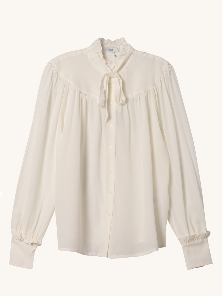 Mailin Bow Blouse in Ivory