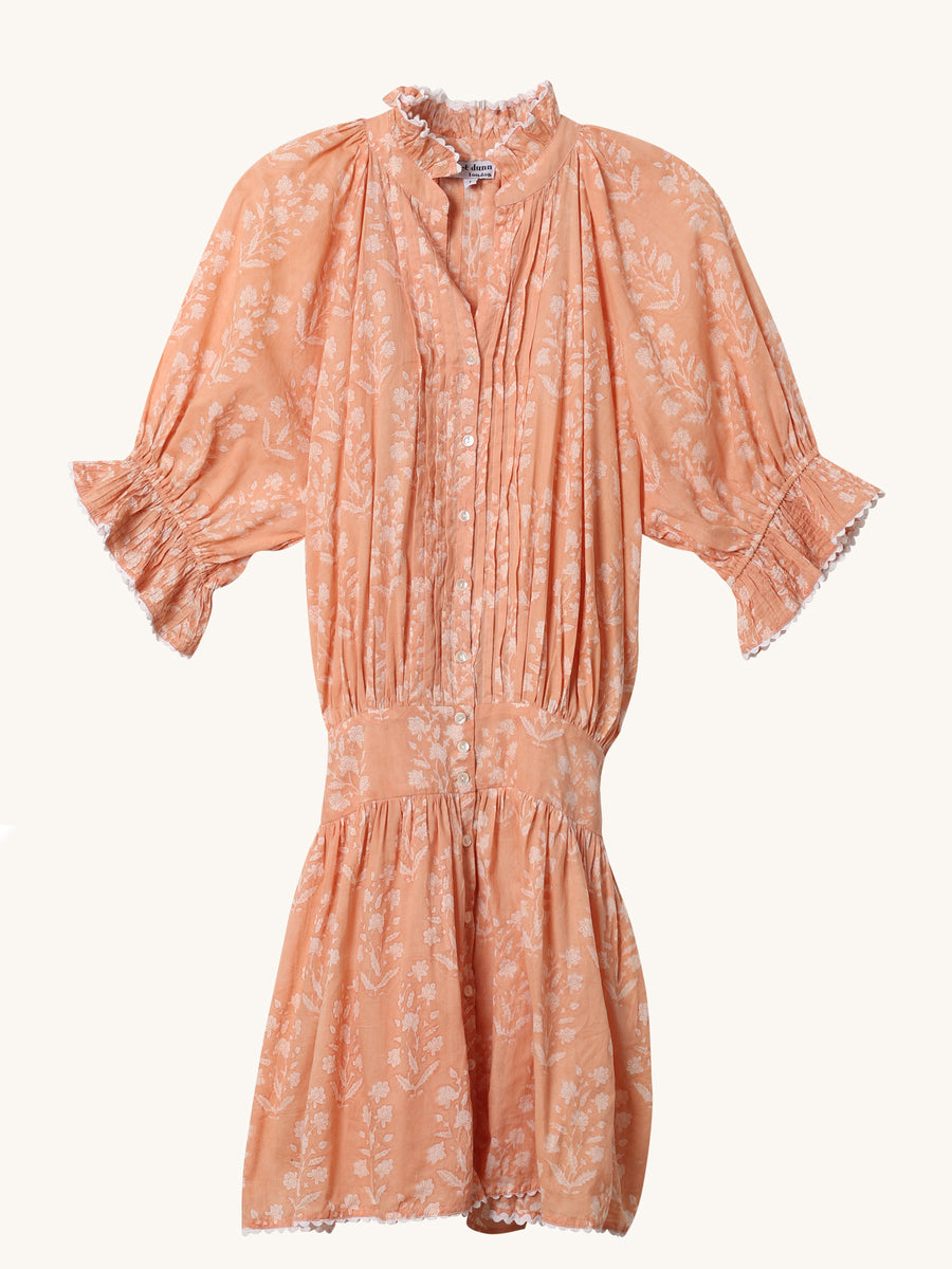Block Blouson Dress in Peach