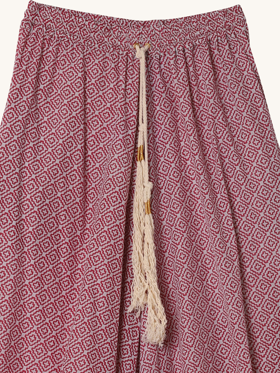 Palazo Pants in Grey & Raspberry Cross Print