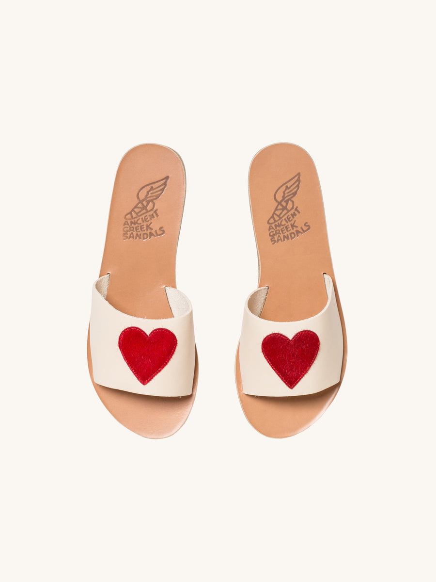 Taygete Eros Sandal in Off White & Red Pony Hair Heart