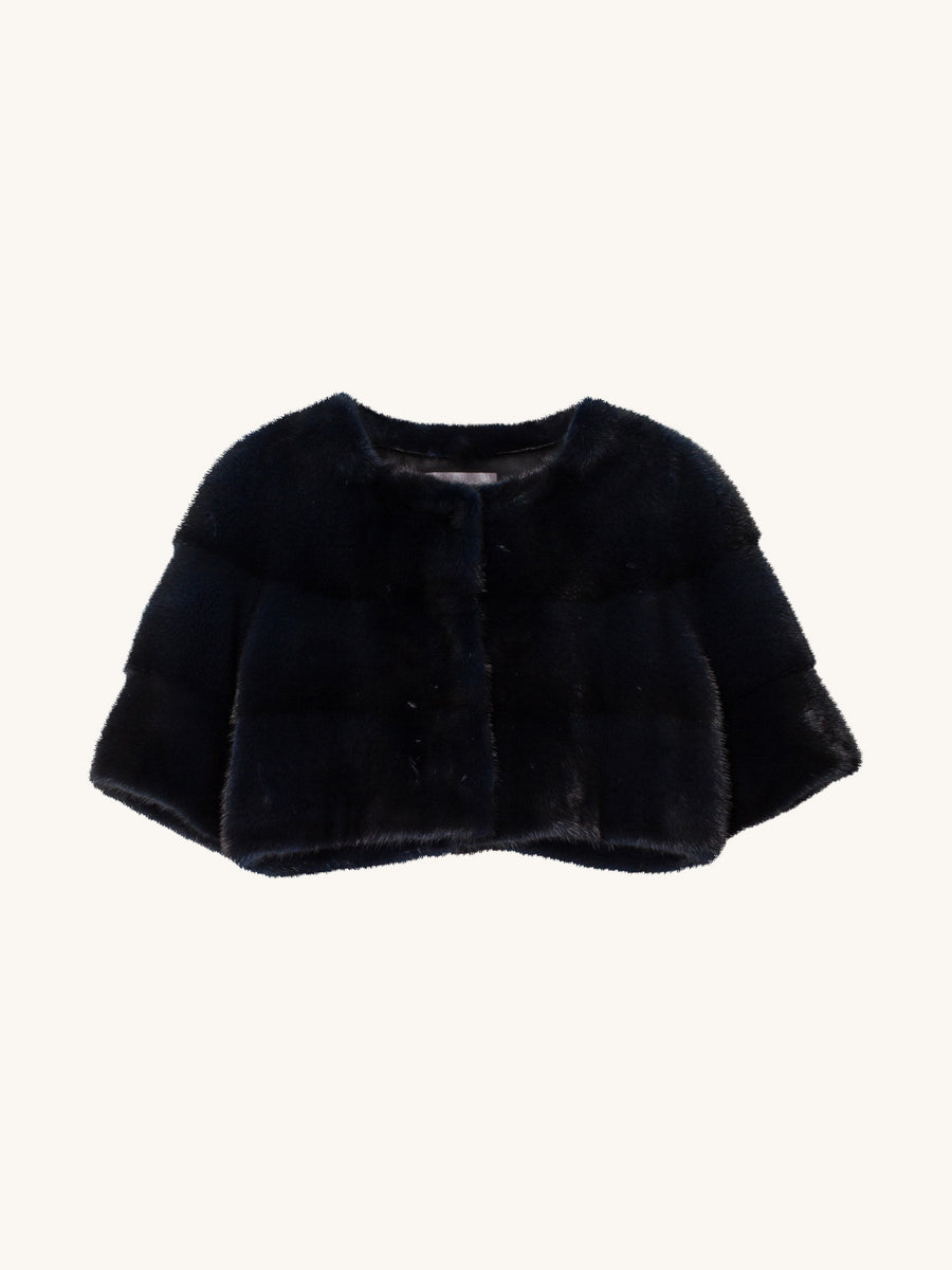 Sarah Mini Mink Jacket in Navy