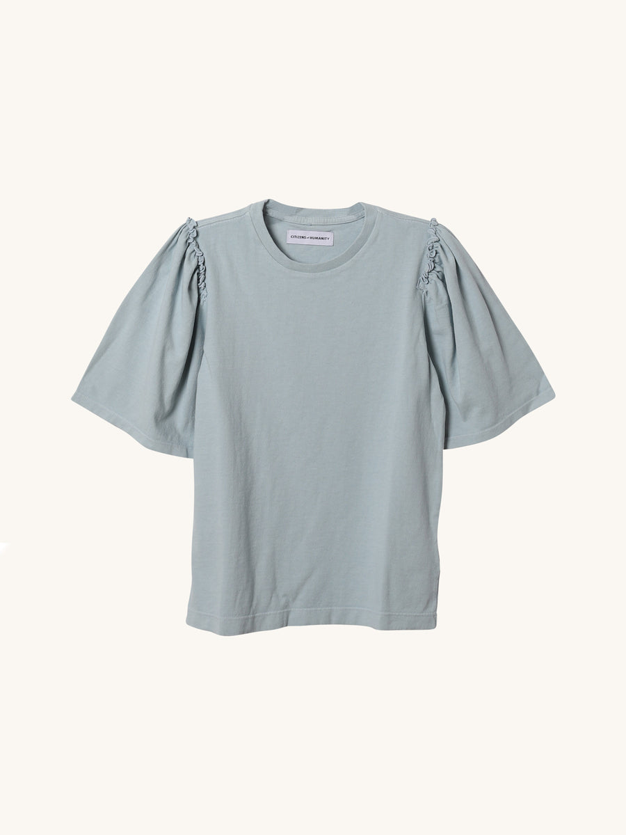 Vera Gather Tee in Aqua