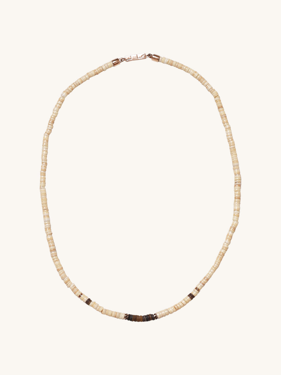 Champagne & Coconut Shell Puka Necklace