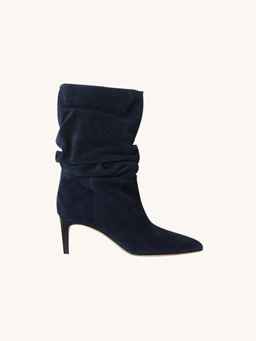 Velour Slouch Bootie in Marine