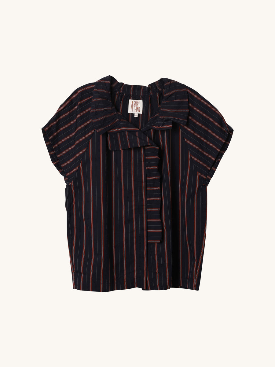 Stella Stripe Twill Blouse in Red & Navy