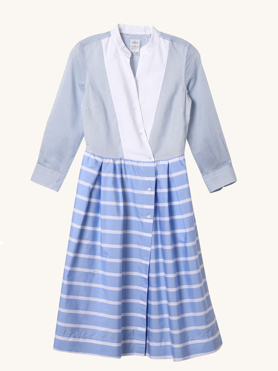 Vannie Dress in White & Blue Stripe