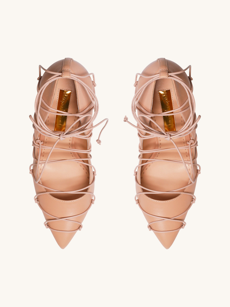 Aphrodite Lace Up Heel in Buttermilk
