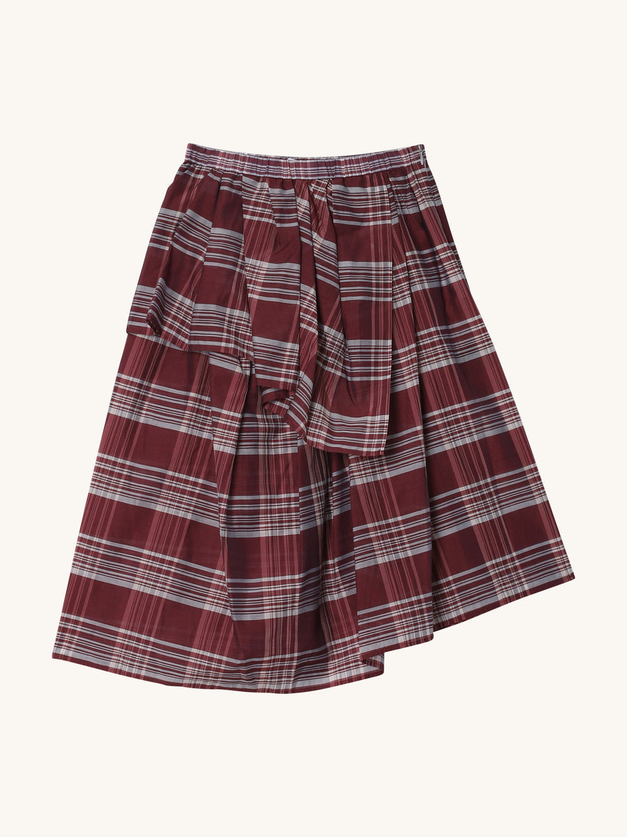 Suzu Skirt in Berry Check