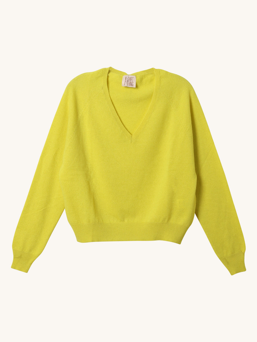 The Girlfriend Sweater in Lime