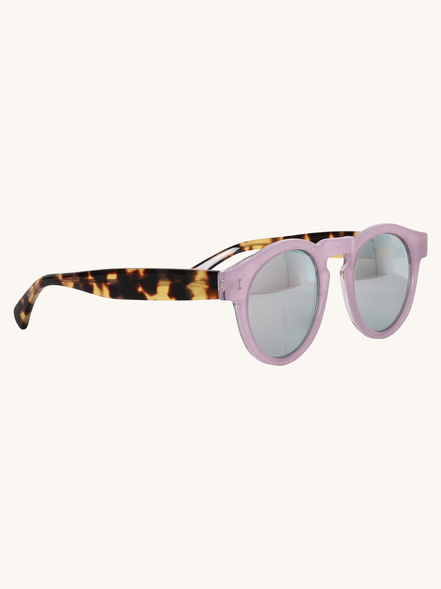 Leonard Sunglasses in Lilac Glitter and Tortoise
