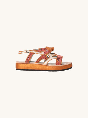 Queen Gobi Embroidered Sandals in Metallic Pearl