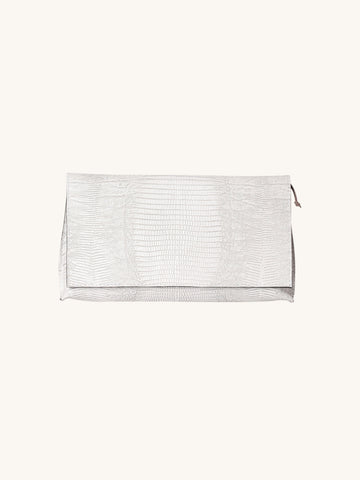 Foldover Clutch in White Embossed Lizard