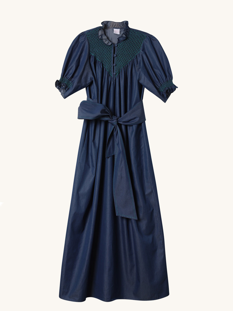 Elena Dress in Dark Blue