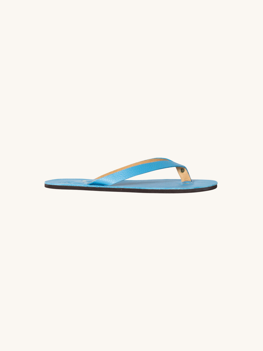 Leather Flip Flop in T. Blue