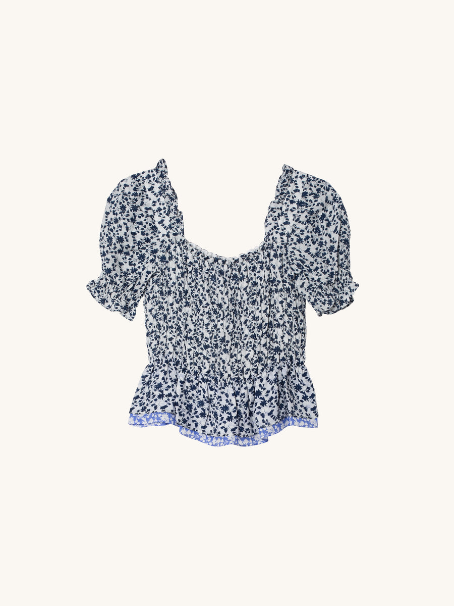 Emilia Top in Navy and White