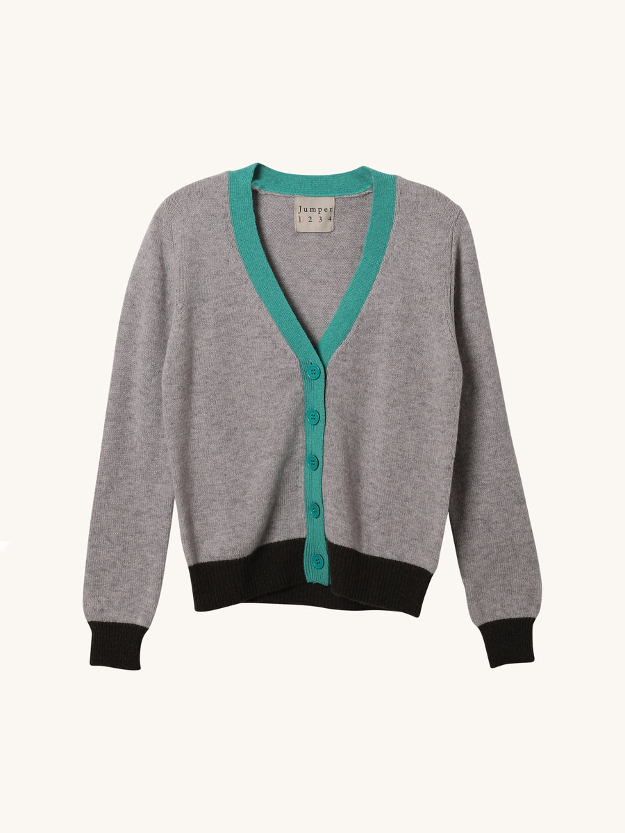 Pewter Color Block Cardi