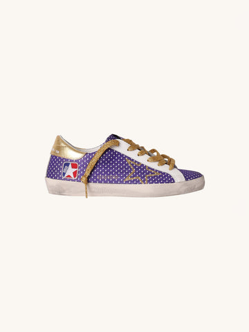 Superstar Sneakers in White and Purple Dot