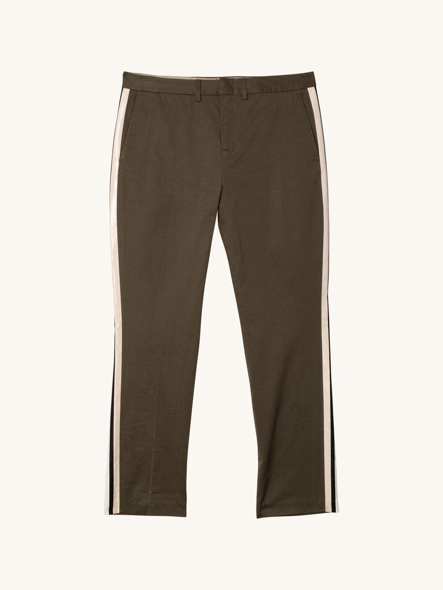 Honore Cropped Pant with Side Stripes in Olive