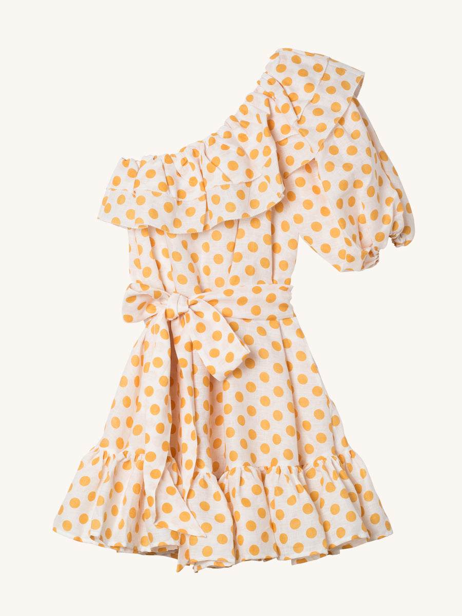 Arden Orange Polka Dot Linen Mini Dress