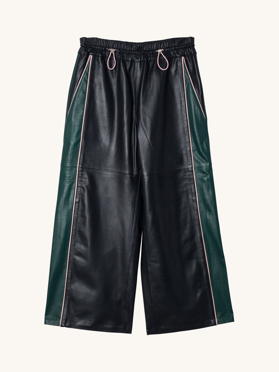 Laser Cut Leather Pants in Dark Green and Navy