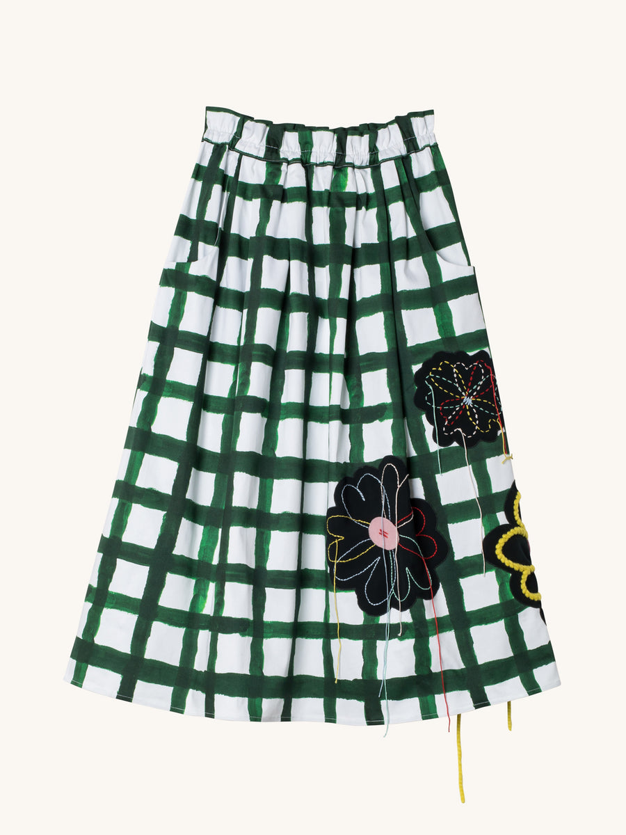 Green & White Plaid with Embroidered Felt Flower Skirt