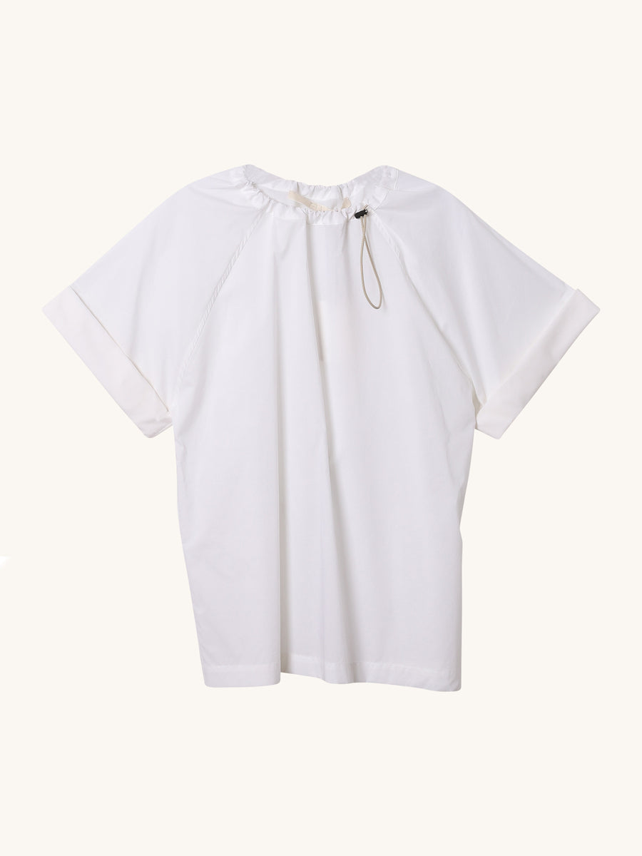 Short Sleeve Drawstring Top in White