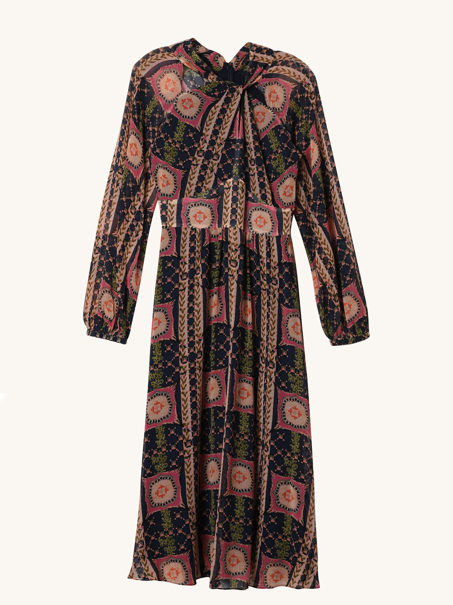 Etoile Printed Dress in Midnight