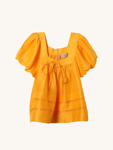 Canary Tucked Puff Sleeve Top