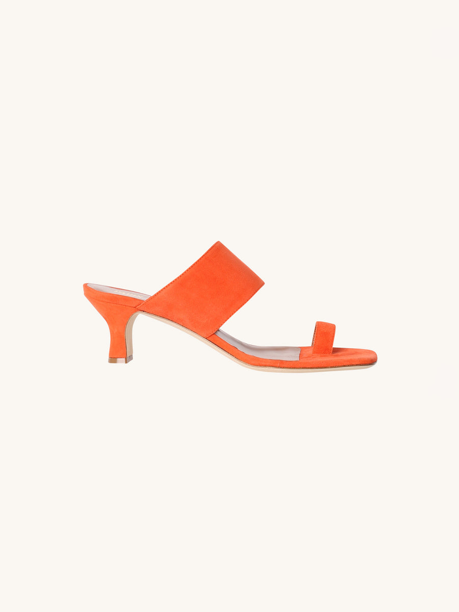 Suede Sandal in Orange