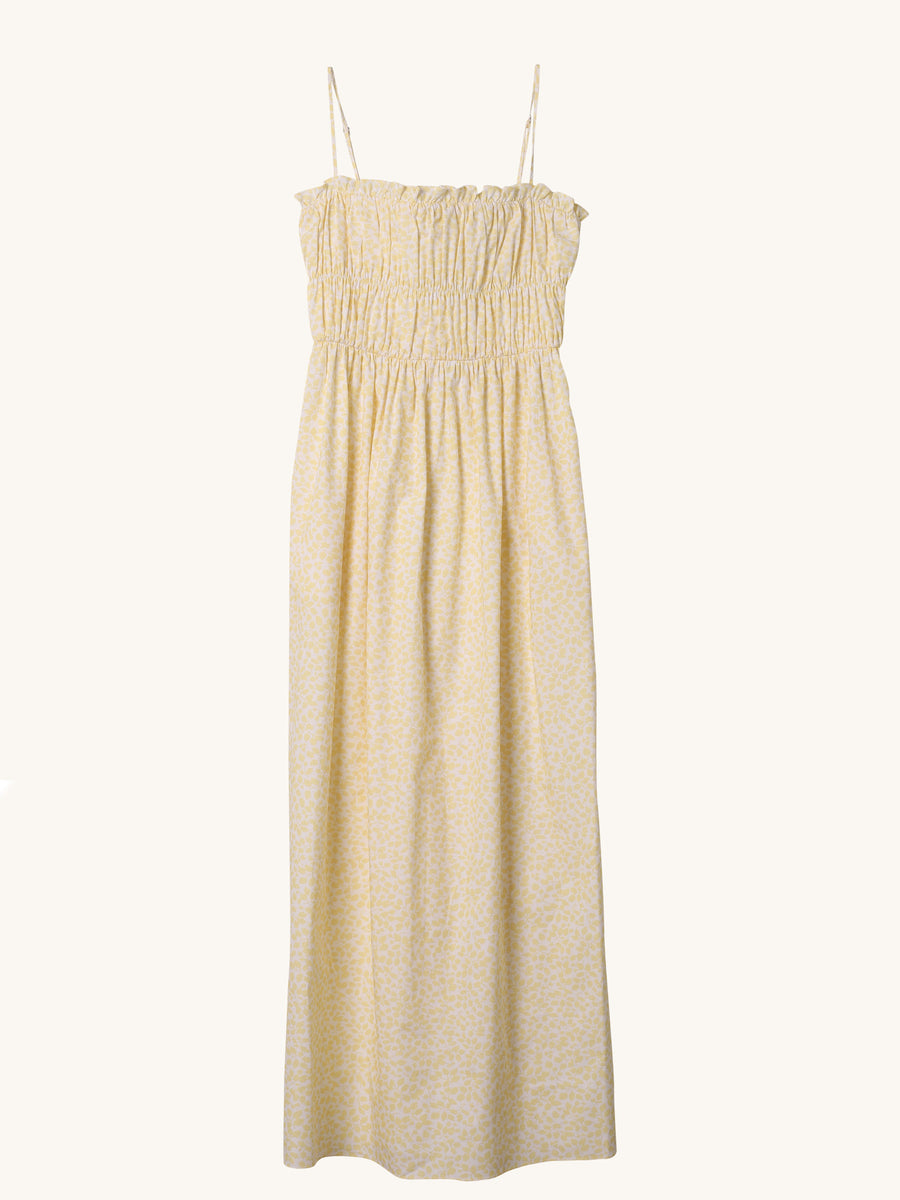 Shirred Maxi Dress in Yellow