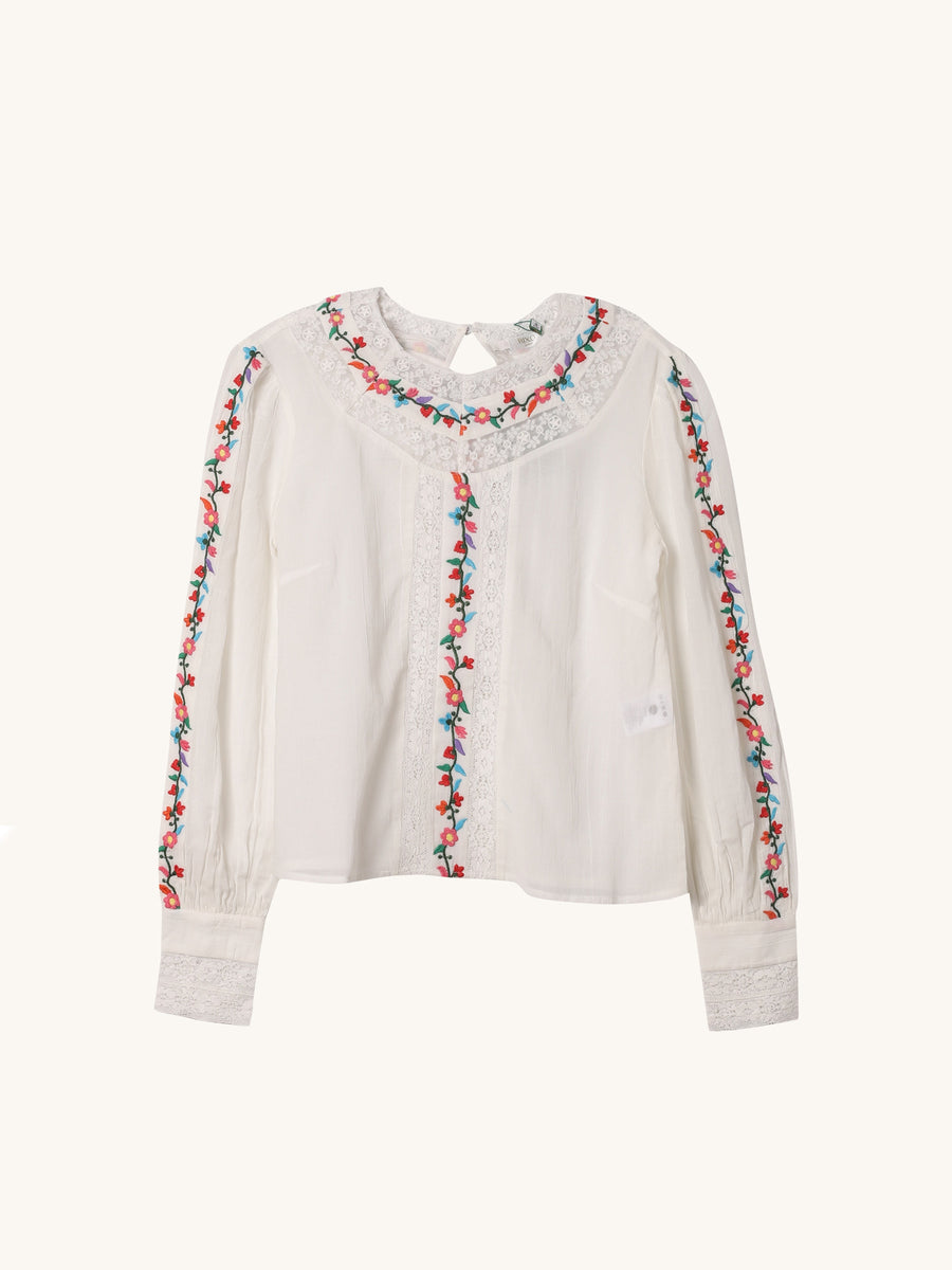Embroidered Floral Rachel Top