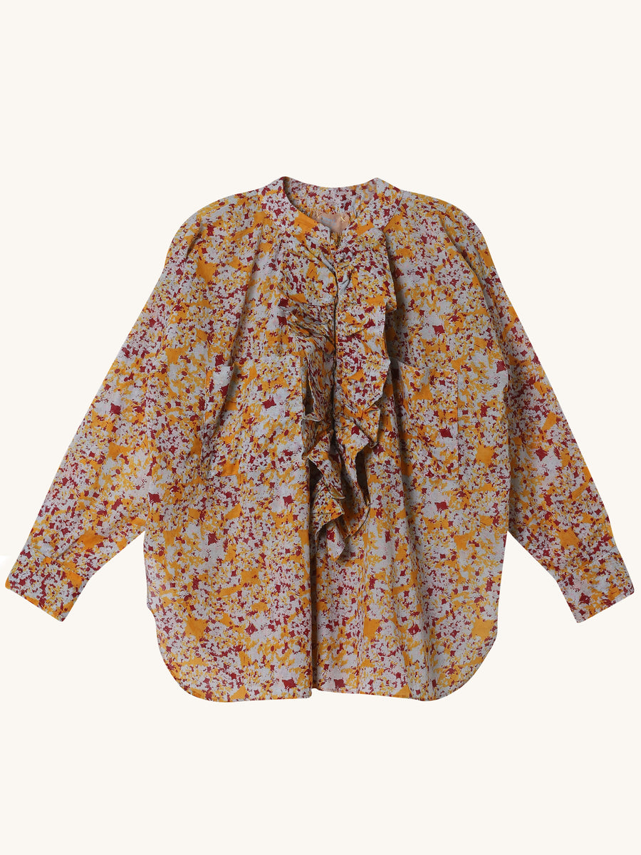 Frill Shirt in Multi Orange Print