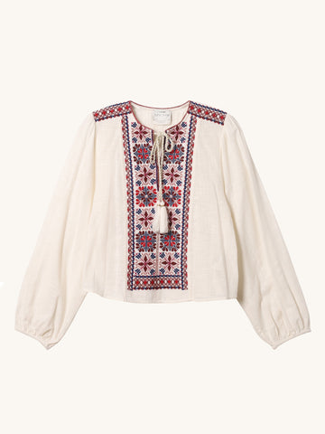 Embroidered Gauze Shirt in White