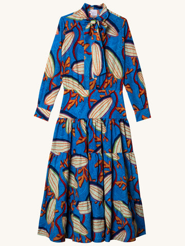 Long Multicolor Dress in Blue Seed