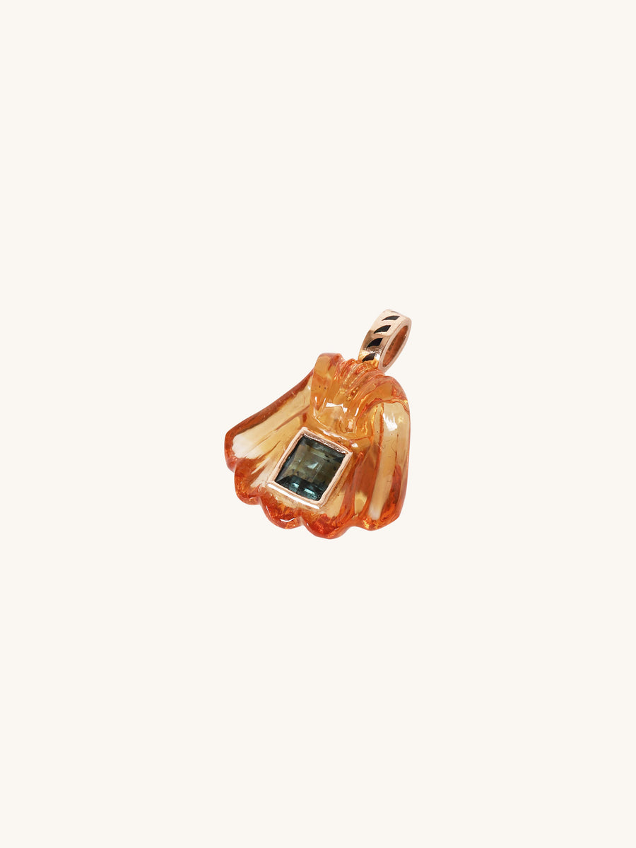 Citrine Shell with Tourmaline Charm
