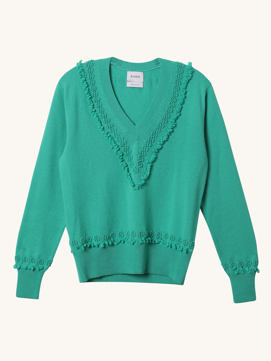 V Neck Emerald Green Pullover