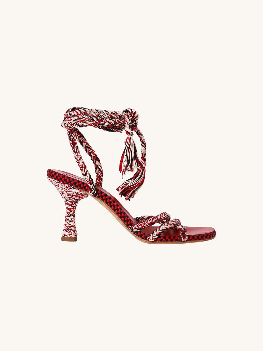 Braided Wrap Heel in Red
