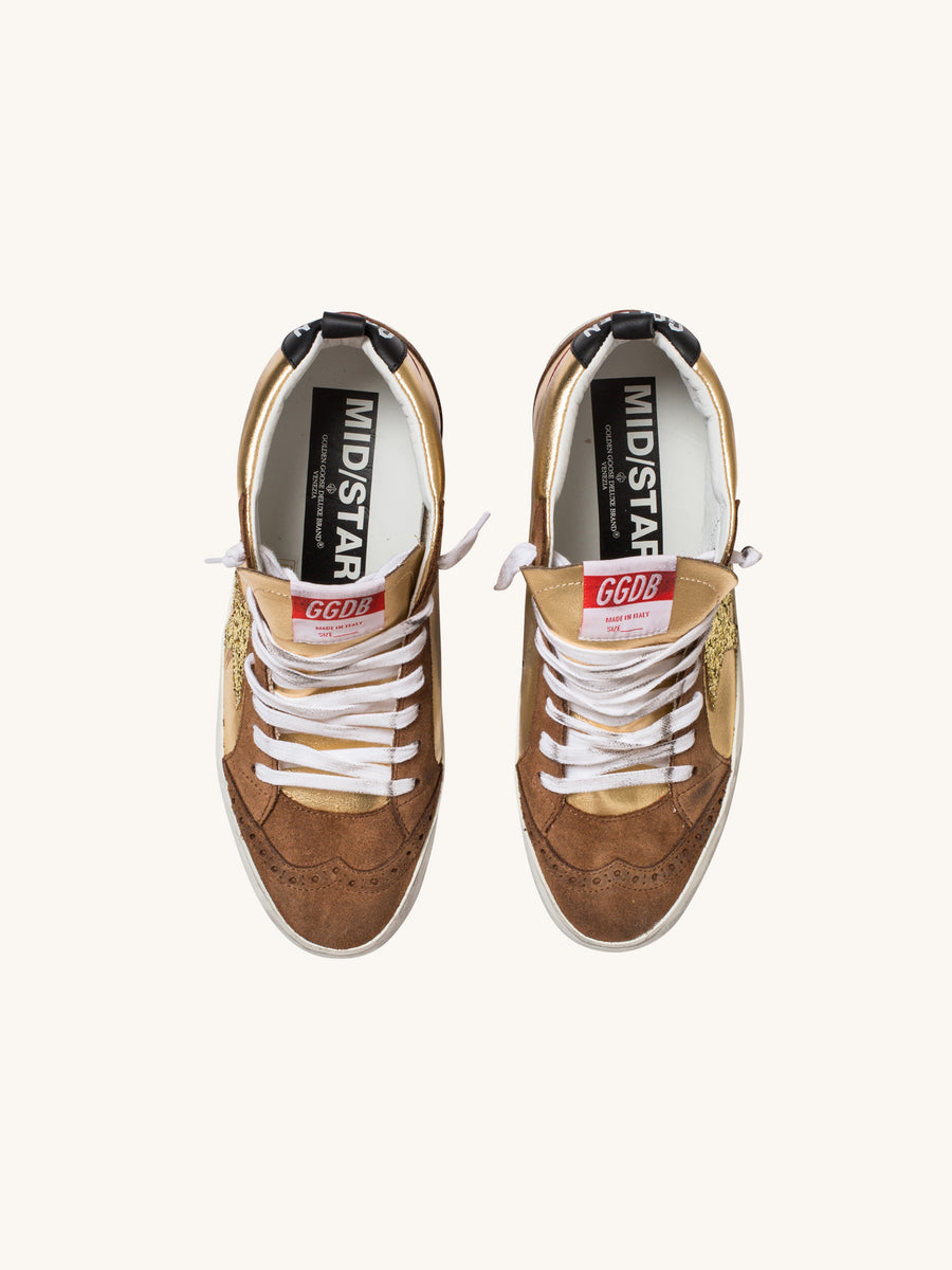 Midstar Sneaker in Gold with Glitter Star
