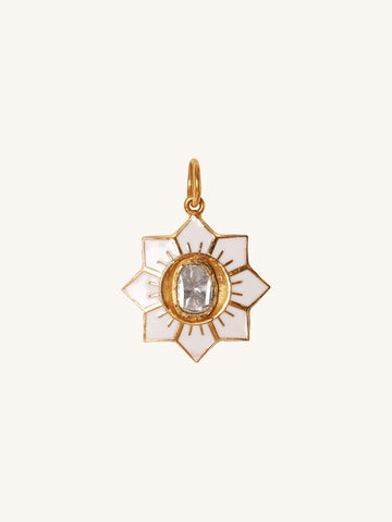 Small White Enamel Flower Charm