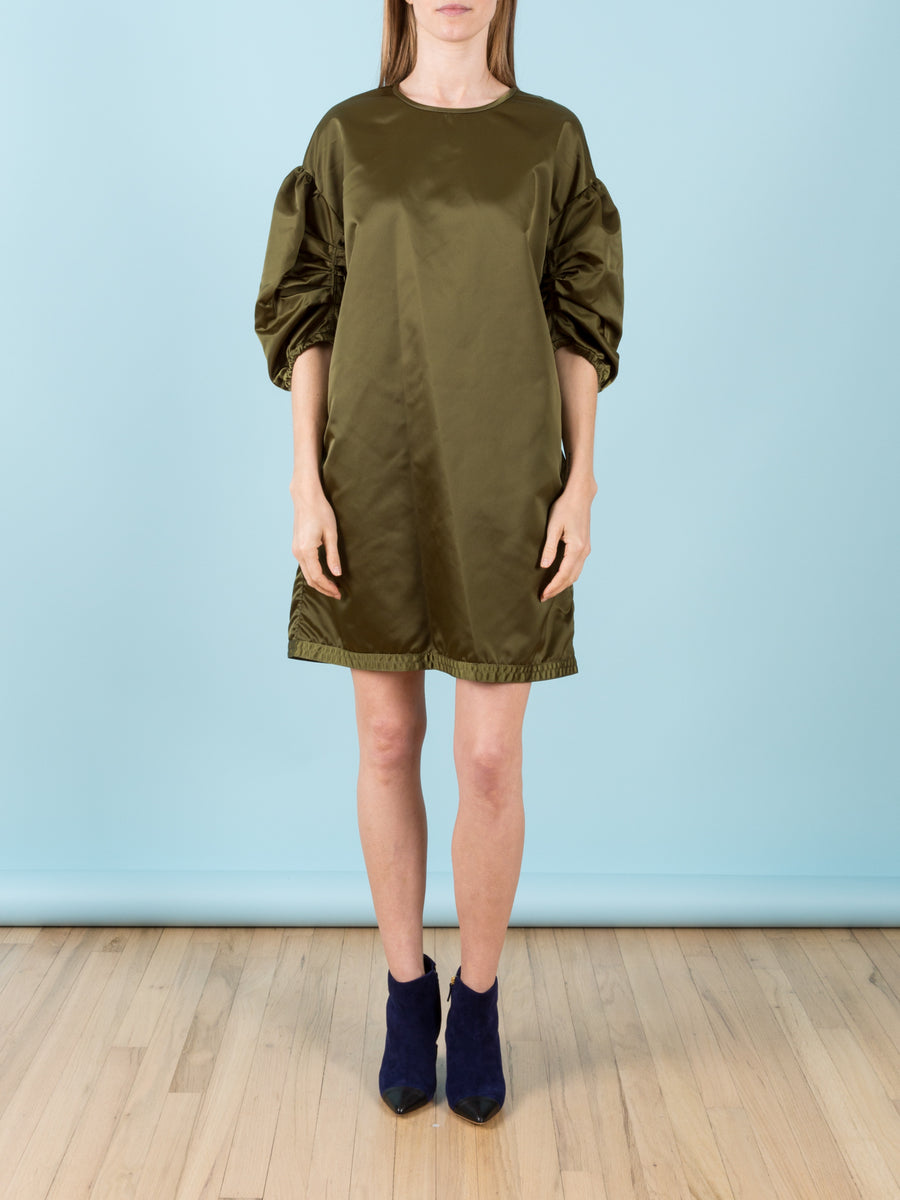 Boxy Nylon Dress with Ruched Sleeves in Sage