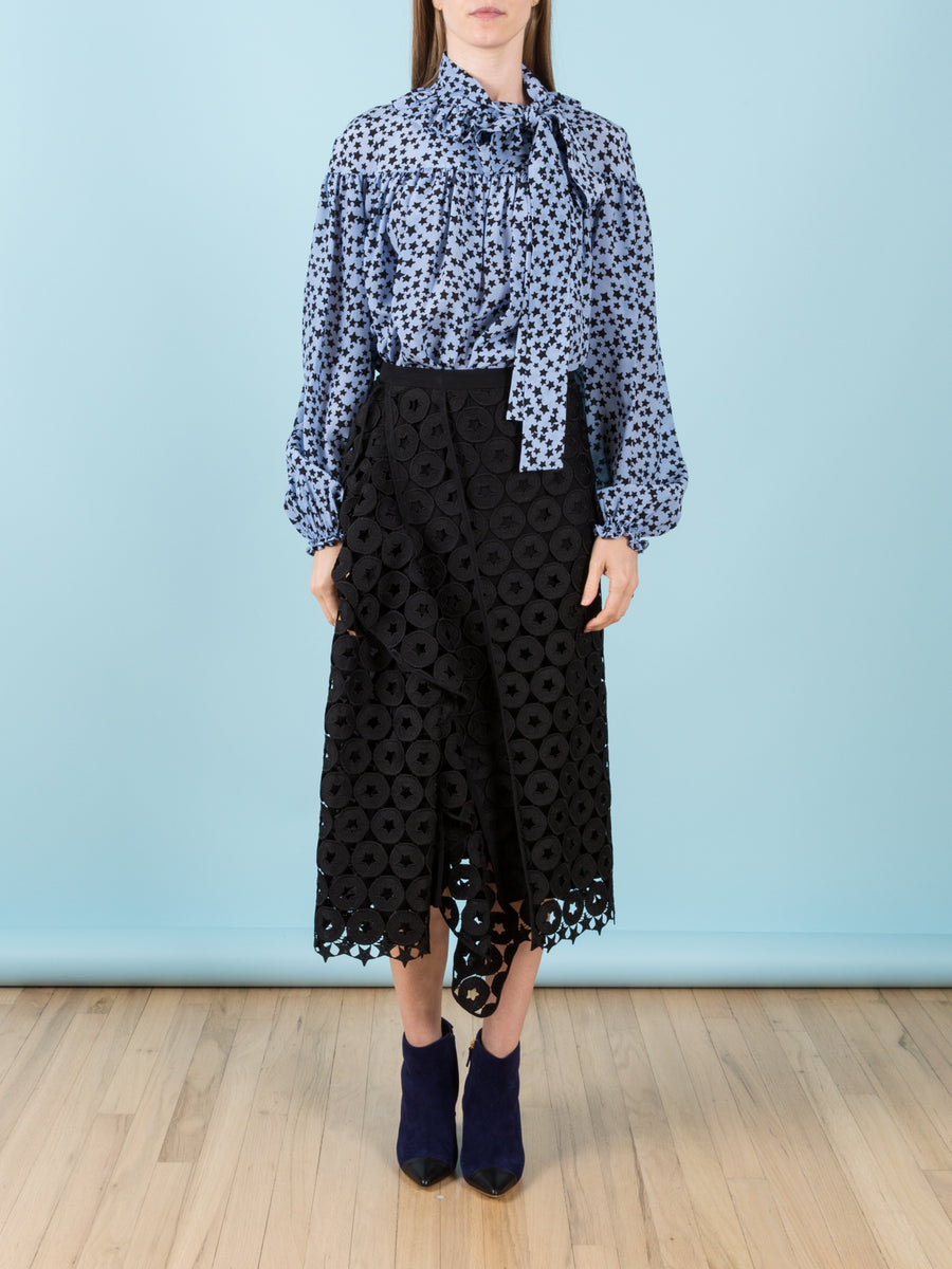 Silk Bow Blouse in Star Print