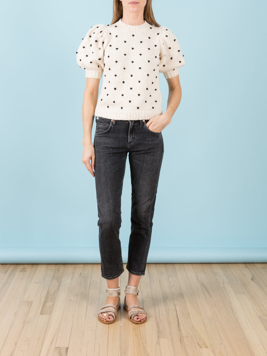 Elsa Mid Rise Slim Fit Crop in Wren