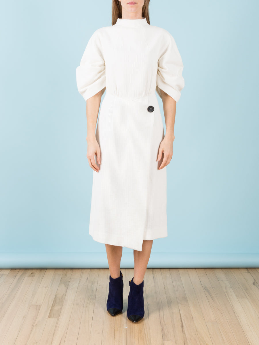 Gathered Crescent Sleeved Courduroy Midi Dress